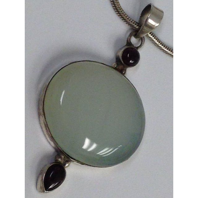 Image of Sterling Silver Chalcedony Garnet Pendant Necklace