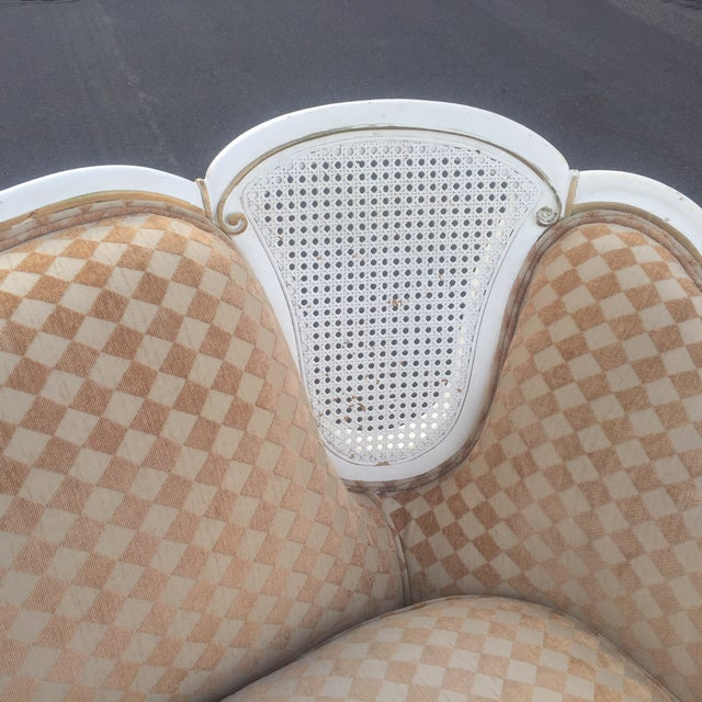 Orange/White French Provencial Cane Back Couch - Image 4 of 8