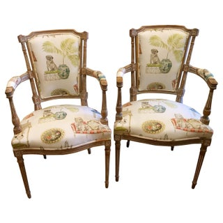 Antique Directoire Chairs With Dogs Fabric - A Pair