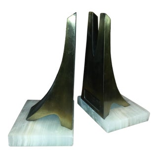 Brutalist Marble & Brass Bridge Bookends - A Pair