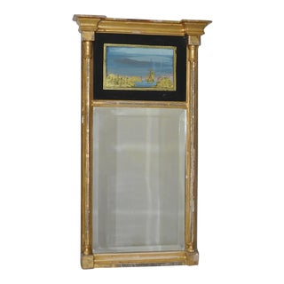19th Century Gilded and Painted Trumeau Mirror