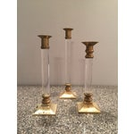 Image of Lucite & Brass Candlesticks - Set of 3