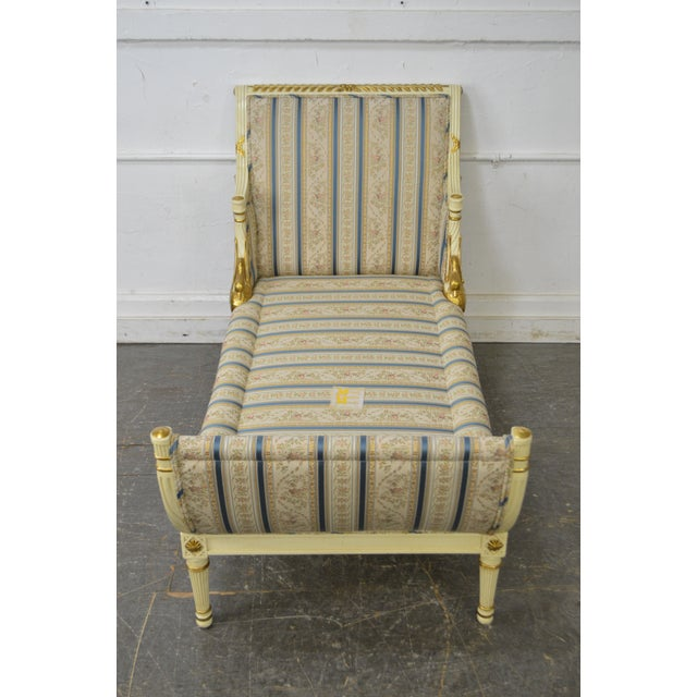 Meyer Gunther Martini French Louis XVI Swan Carved Painted Recamier Chaise Lounge - Image 10 of 10