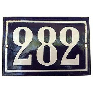 French Blue & White Enamel '282' Street Sign