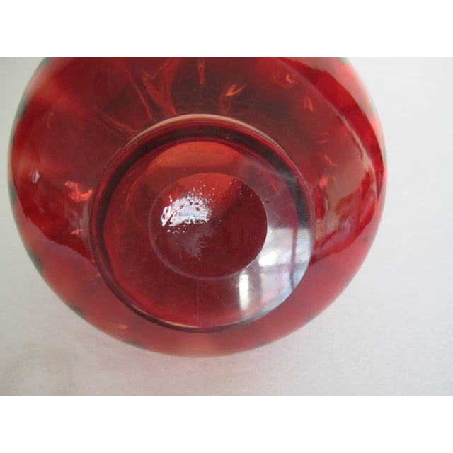 Image of Vintage Italian Ruby Red Art Glass Vase w/ Handles