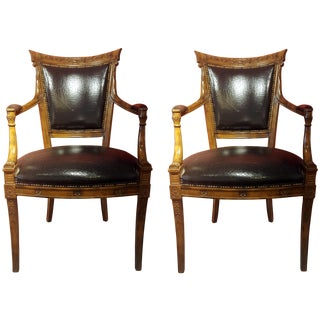 Black Crackle Leather Armchairs
