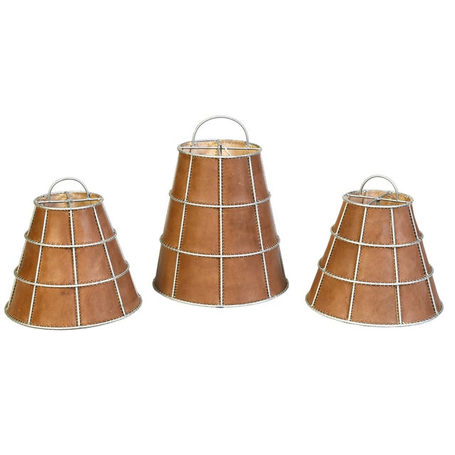 Image of Industrial Caged Leather Shades - Set of 3