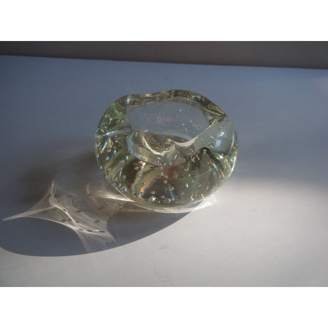 """Vintage Clear Glass """"Bubbles"""" Modern Style Ashtray - Image 5 of 5"""