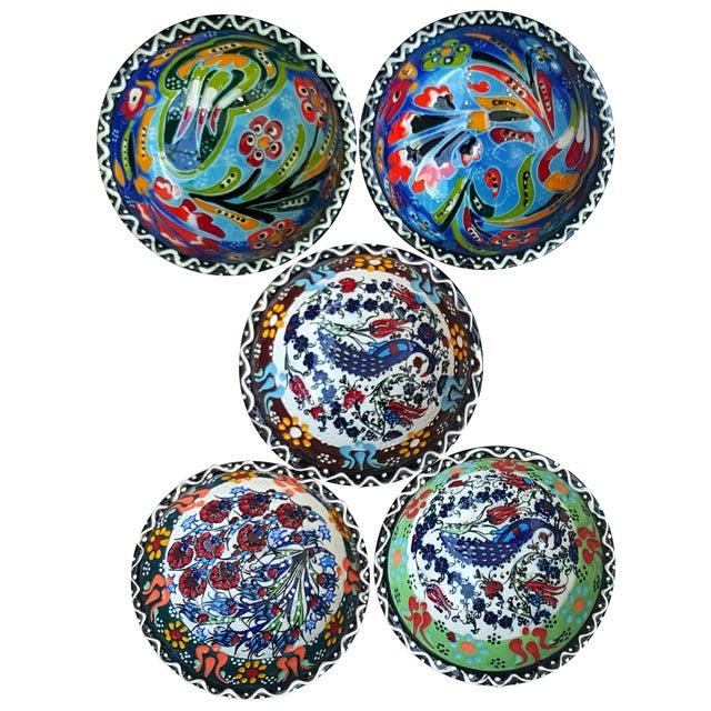 Handmade Turkish Tile Bowls - Set of 5 - Image 1 of 4
