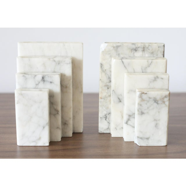 Image of Vintage Italian Marble Stacked Books Bookends - Pair