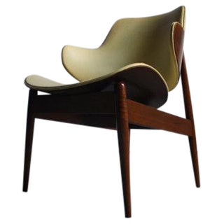 Seymour James Wiener Kodawood Mid-Century Walnut & Vinyl Clam Shell Chair
