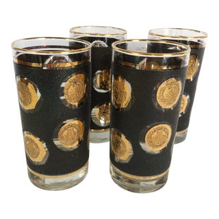 1960's Libbey Gold Coin Hi-ball Glasses - Set of 4