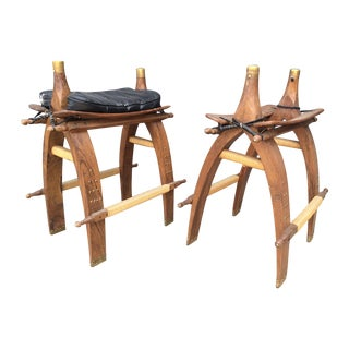 Bar Height Camel Saddle Leather Stools With Brass -- A Pair