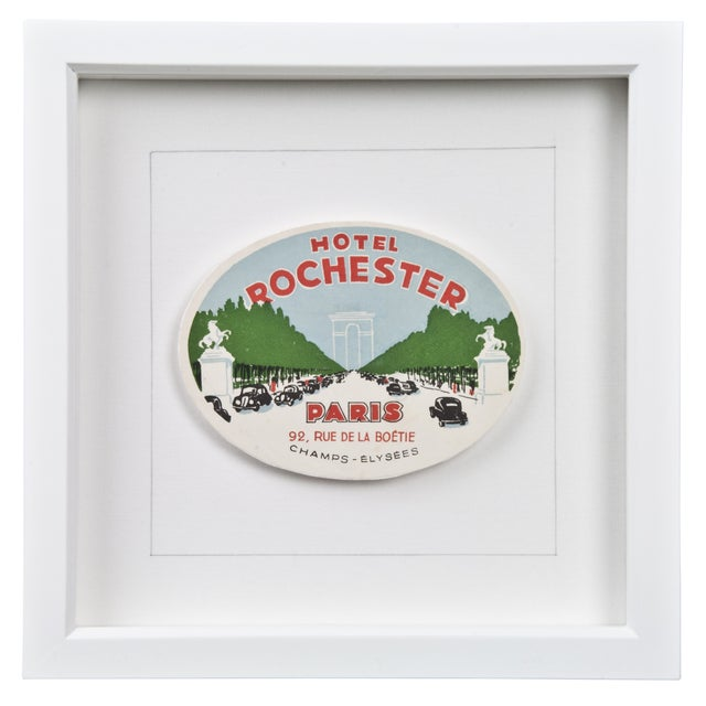 Image of Framed French Rochester Hotel Luggage Label
