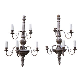 5-Light Italian Silver Gilt Wood & Metal Sconces - A Pair