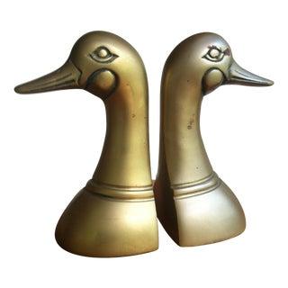 Mid-Century Brass Mallard Duck Bookends - A Pair