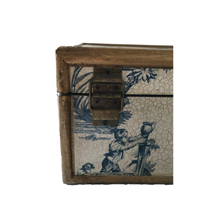 Antique Blue & White Toile Box - Image 3 of 9