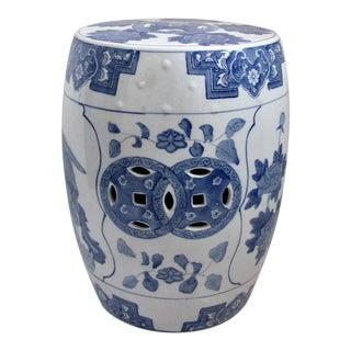Asian Blue & White Glazed Ceramic Garden Stool