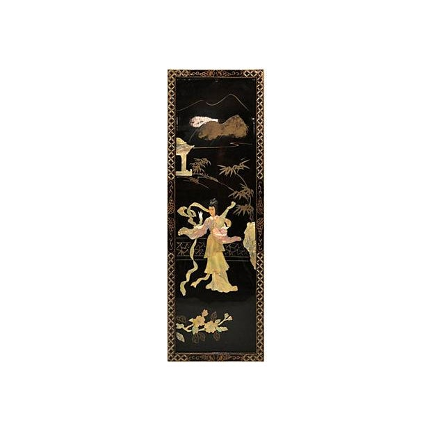 Vintage Japanese Lacquer Screen - Image 2 of 4