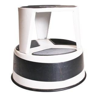 Mid Century Modern White Cramer Kik Step Rolling Foot Stool