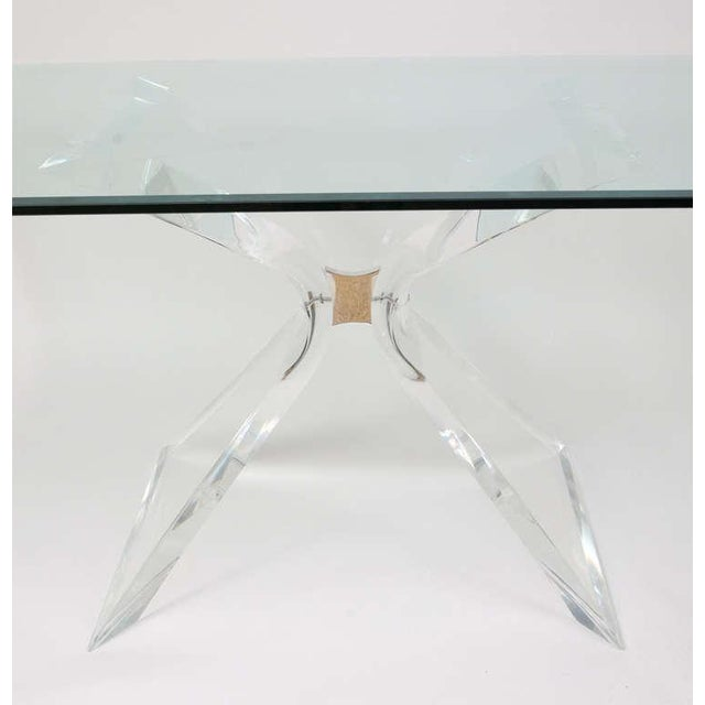 """Lion in Frost """"X"""" Base Lucite Table Base - Image 7 of 10"""