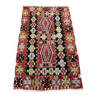 Handwoven Vintage Turkish Kilim Rug - 3'2''x5'2''