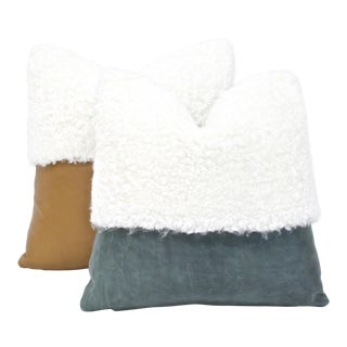 Leather & Curly Sheepskin Pillows - A Pair