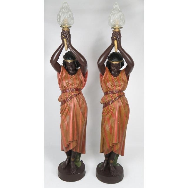 Antique Art Nouveau Polychromed Metal Nubian Maidens - a Pair-Early 20th C. - Image 2 of 3