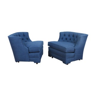 Blue 1960's Style Club Chairs - Pair