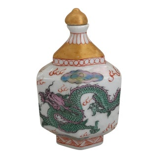 Chinese Chinoiserie Colorful Dragon Porcelain Bottle