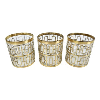 Set of 3 Imperial Glass 24k Gold Shoji Cocktail Glasses
