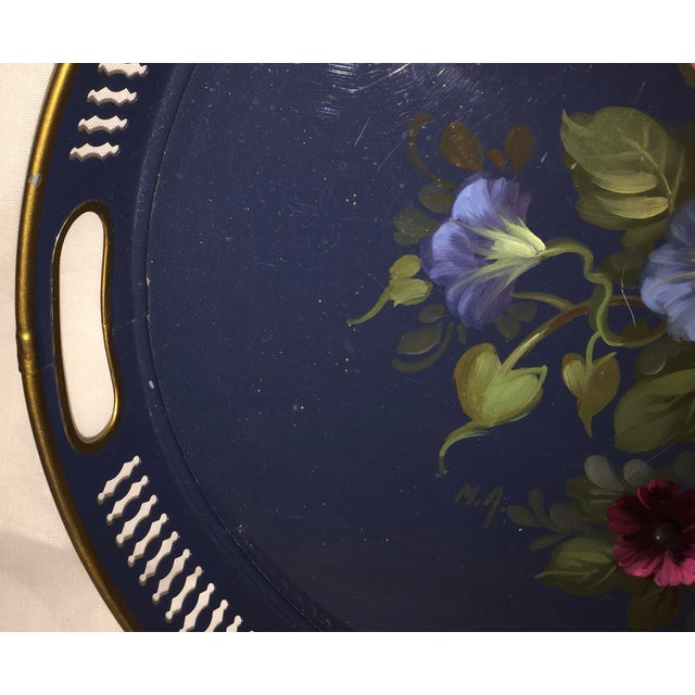 French Hand Painted Toleware Tray With Roses C.1950 - Image 6 of 8
