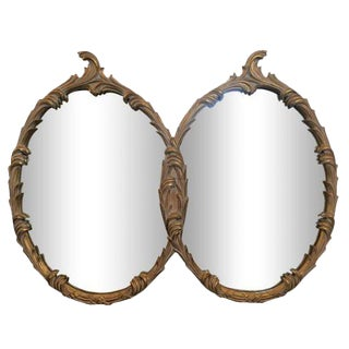 Hollywood Regency Double Oval Leaf Design Mirror