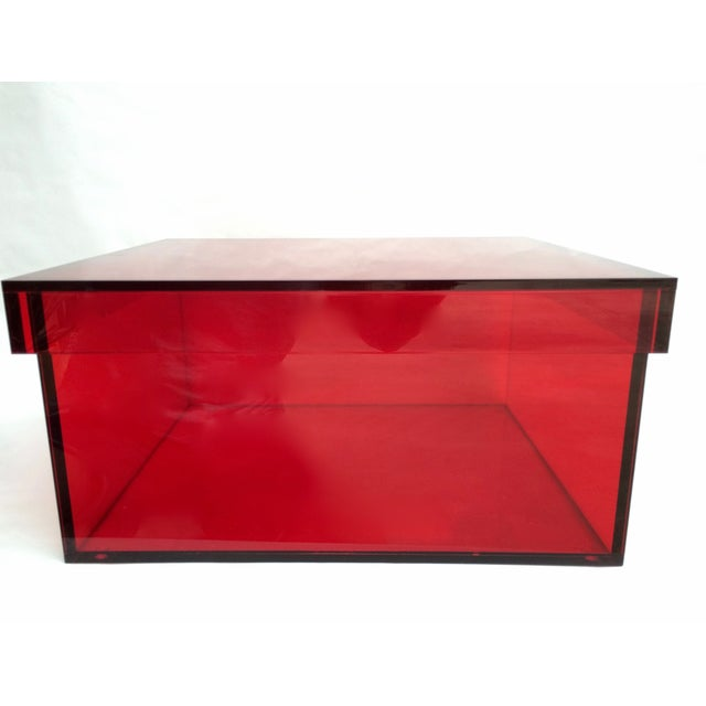 Vintage Red Acrylic Storage Box - Image 2 of 7