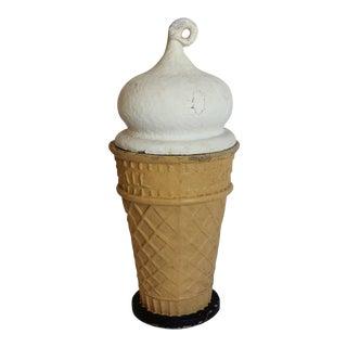 "1950s Papier Mâché Ice Cream Cone Trade Sign ""Eat-it-all"""