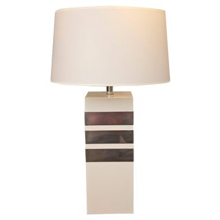 Mid-Century Modern Silver Banded Table Lamp