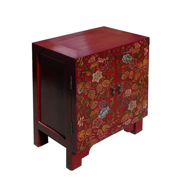 Chinese Red Lacquer Color Flowers End Table - Image 2 of 3