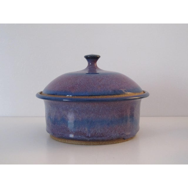 Blue & Purple Pottery Casserole Dish - Image 2 of 6
