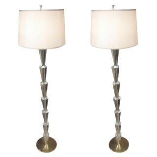 Pair of Italian Crystal Floor Lamps in the Manner of Fontana Arte