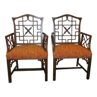 Carved Wood & Upholstered Seat Chippendale Accent Chairs - A Pair