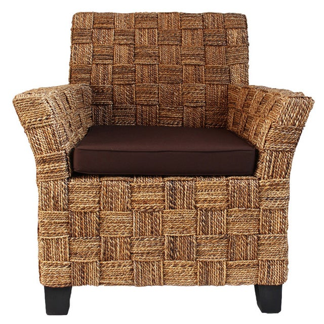 Banana leaf arm chair w brown cushions chairish