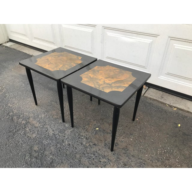 Mid-Century Modern Black Stacking Tables - A Pair - Image 4 of 7