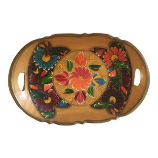 Vintage Boho Handcrafted Wood Tray