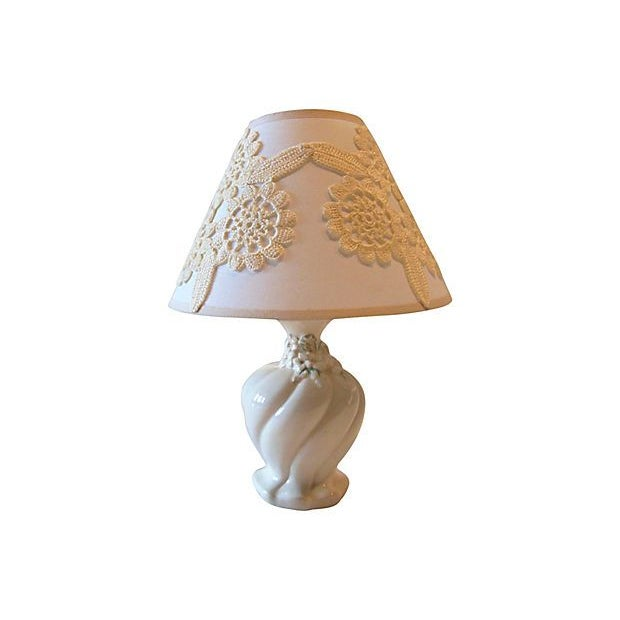 Cream Ceramic Lamp with Custom Shade - Image 1 of 4