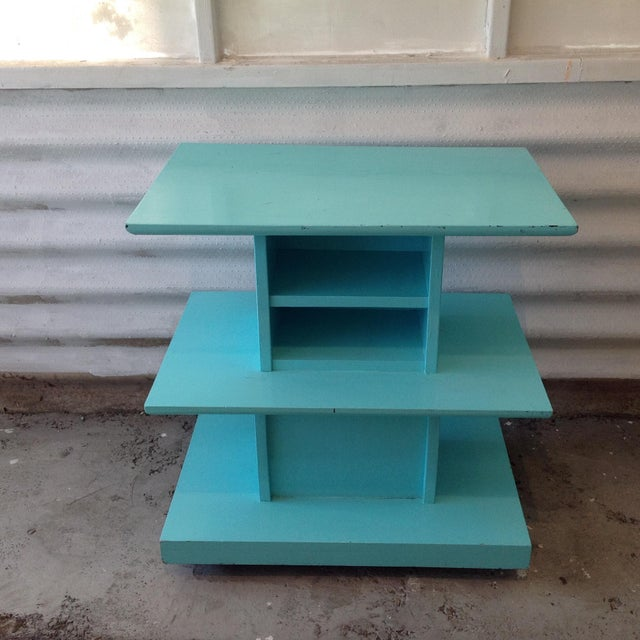 Mid-Century High Gloss Chalk Painted Cart - Image 9 of 11