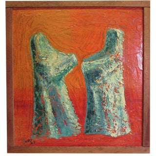 Vintage Abstract Oil Painting Green Figures