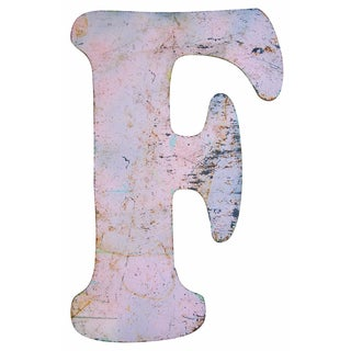 Tall Pink Metal Marquee Letter 'F'
