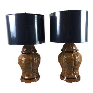 Vintage Basketweave Ceramic Lamps - A Pair