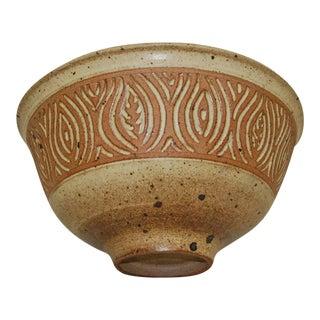 Large 1980s Peter Lane Sgraffito Stoneware Bowl