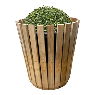 Customizable Plantum Bleached American Hardwood Modular Planter Cover with Brass Rivets